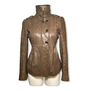 Mackage Leather Jacket Lambskin Moto Buttons
